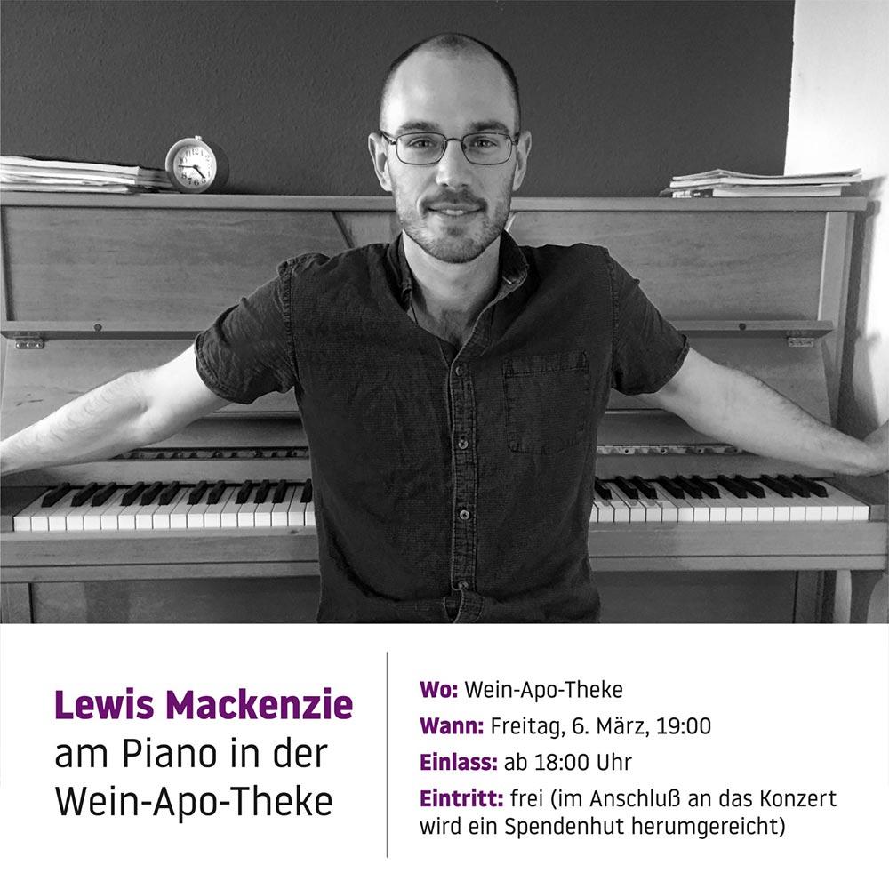 Lewis Mackenzie am Piano in der Wein-Apo-Theke am Freitag, 6. März 2020